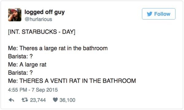 Text - logged off guy @hurlarious Follow [INT. STARBUCKS - DAY] Me: Theres a large rat in the bathroom Barista:? Me: A large rat Barista: ? Me: THERES A VENTI RAT IN THE BATHROOM 4:55 PM-7 Sep 2015 23,744 36,100