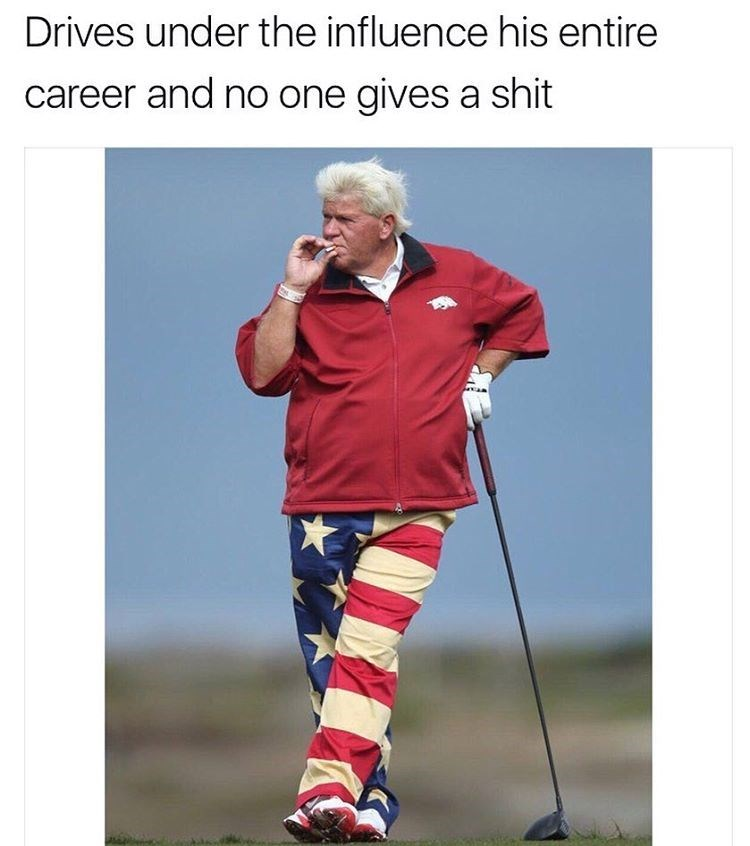 Tuesday Pic of John Daly in US flag pants smoking while playing golf