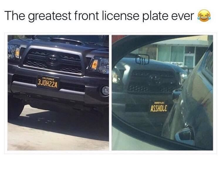 """Tuesday meme pic of license plate that reads as the word """"asshole"""" when seen flipped in a mirror"""