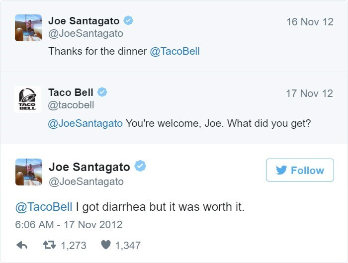 Text - Joe Santagato @JoeSantagato 16 Nov 12 Thanks for the dinner @TacoBell Taco Bell 17 Nov 12 @tacobell TACO BELL @JoeSantagato You're welcome, Joe. What did you get? Joe Santagato @JoeSantagato Follow @TacoBell I got diarrhea but it was worth it 6:06 AM-17 Nov 2012 1,273 1,347