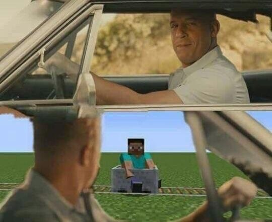Funny meme of a fast and furious scene with Vin Diesel except the car has been superimposed into a Minecraft moment.