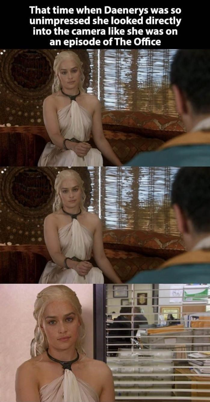 Wednesday meme about Game of Thrones briefly turning into The Office