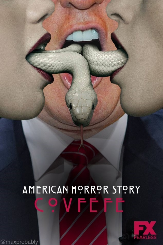 Movie poster someone made with snakes coming out of people's mouth, one of them Donald Trump's, and the title is Covfefe written in a Berlin font.