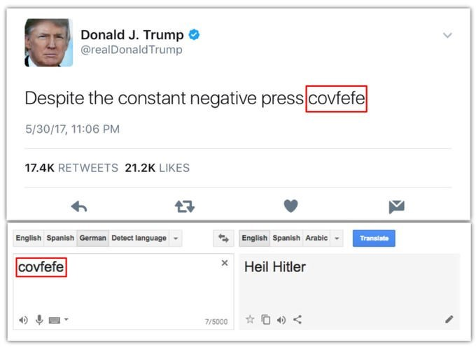 Funny screen shot of someone who grabbed the word Covfefe to show it translates to Heil Hitler on google translate.