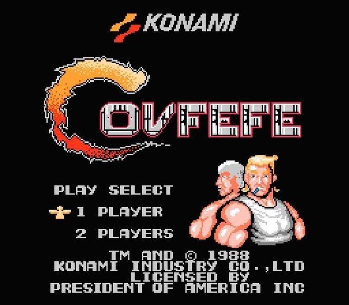 Funny meme of Covfefe video game in 1988 by Konami