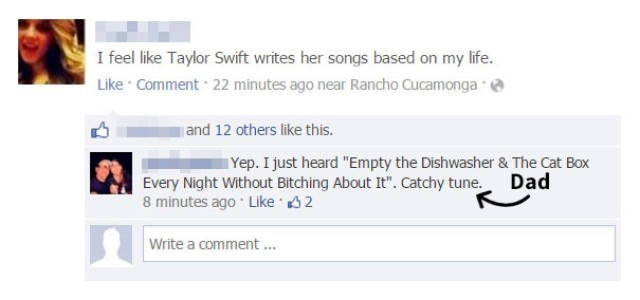 """Text - I feel like Taylor Swift writes her songs based on my life. Like Comment 22 minutes ago near Rancho Cucamonga and 12 others like this. Yep. I just heard """"Empty the Dishwasher & The Cat Box Dad Every Night Without Bitching About It"""". Catchy tune. 8 minutes ago Like 2 Write a comment"""