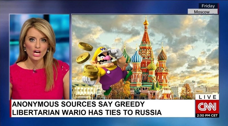 "Funny CNN style meme saying that ""greedy libertarian Wario"" has ties to Russia. Political meme."
