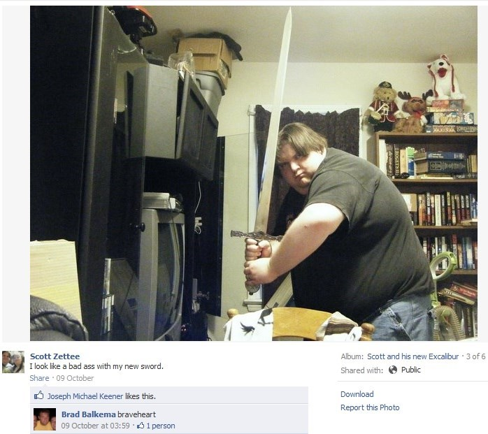 Product - EDI Album: Scott and his new Excalibur 3 of 6 Scott Zettee I look like a bad ass with my new sword. Public Shared with: Share 09 October Joseph Michael Keener likes this. Download Report this Photo Brad Balkema braveheart 09 October at 03:59 1person ROGETS
