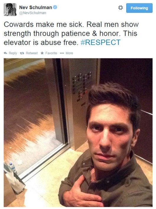 Selfie - Nev Schulman Following @NevSchulman Cowards make me sick. Real men show strength through patience & honor. This elevator is abuse free. #RESPECT Reply Retweet Favorite More