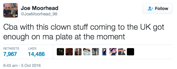 Scottish tweet by Joe Moorhead about the clown stuff coming to the UK.