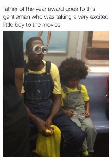 Yellow - father of the year award goes to this gentleman who was taking a very excited little boy to the movies