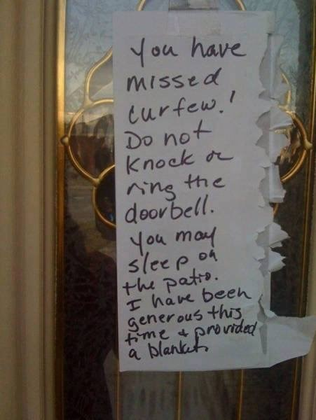 Text - You have missed curfew.! Do not Knock rr Ang the doorbell. You may sleep 04 +he patro. hae beeh generous this ime & provided a blanket