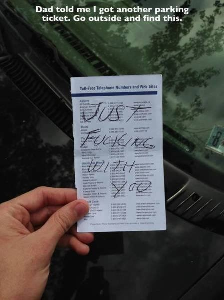 Text - Dad told me I got another parking ticket. Go outside and find this. Tell-Free Telephone Numbers and Web Sites Jus7 Ave र्स sie Sain al rsen