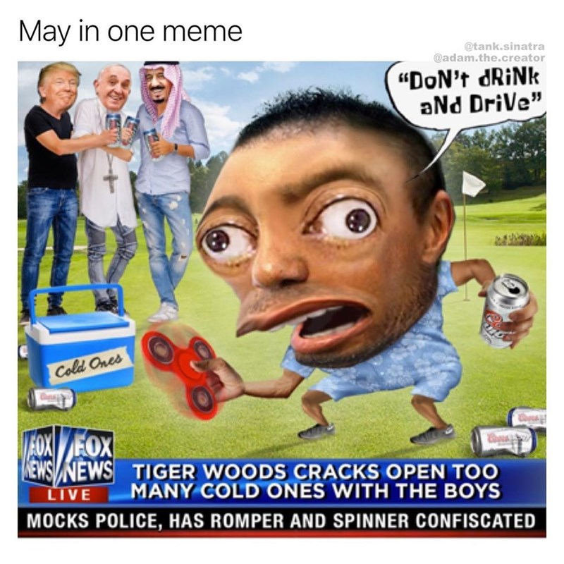 Meme that puts all of May's memes together in one - Donald Trump, Mocking spongebob, fidget spinners, cracking cold ones with the boys, male rompers.