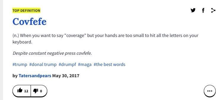 "Urban Dictionary definition of the word ""covfefe"" making fun of Trump's hands"