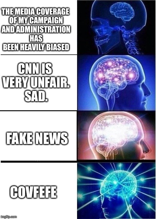 expanding brain meme breaking down the meaning of covfefe