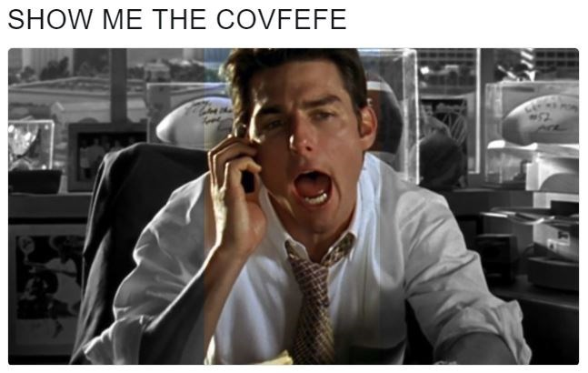 still from the Jerry Maguire movie of Tom Cruise's character yelling about covfefe