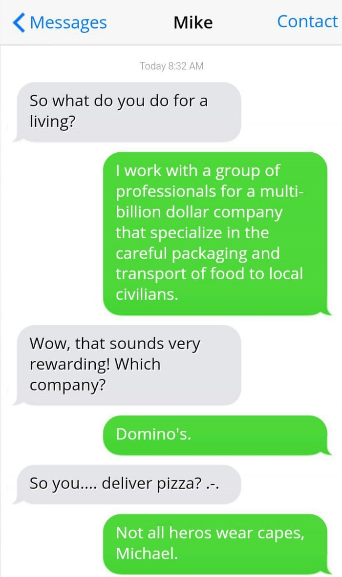 guy who works for dominoes exaggerates his qualifications