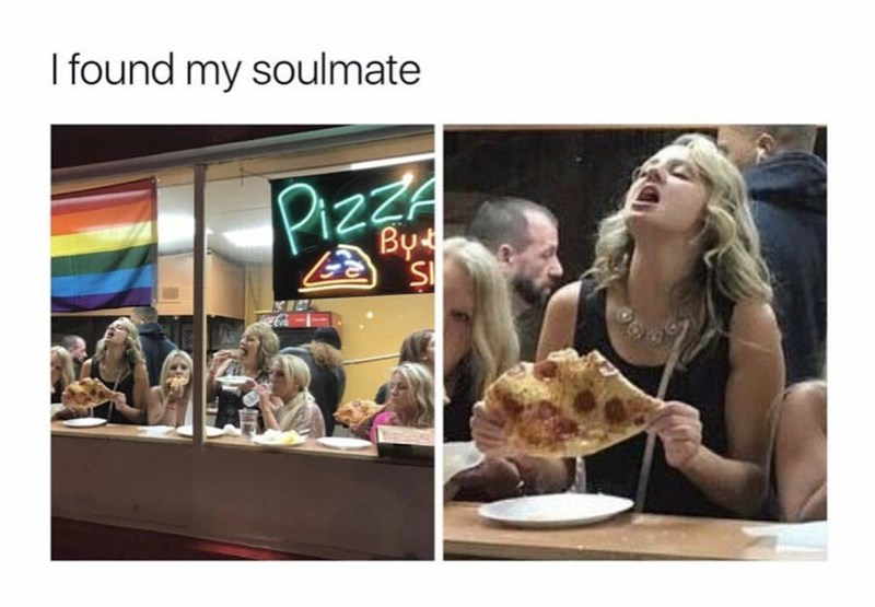 woman very happy with her pizza