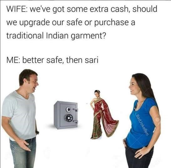 meme of a woman wearing a sari instead of the word sorry