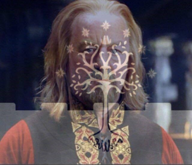 meme of theoden with a tree on his face
