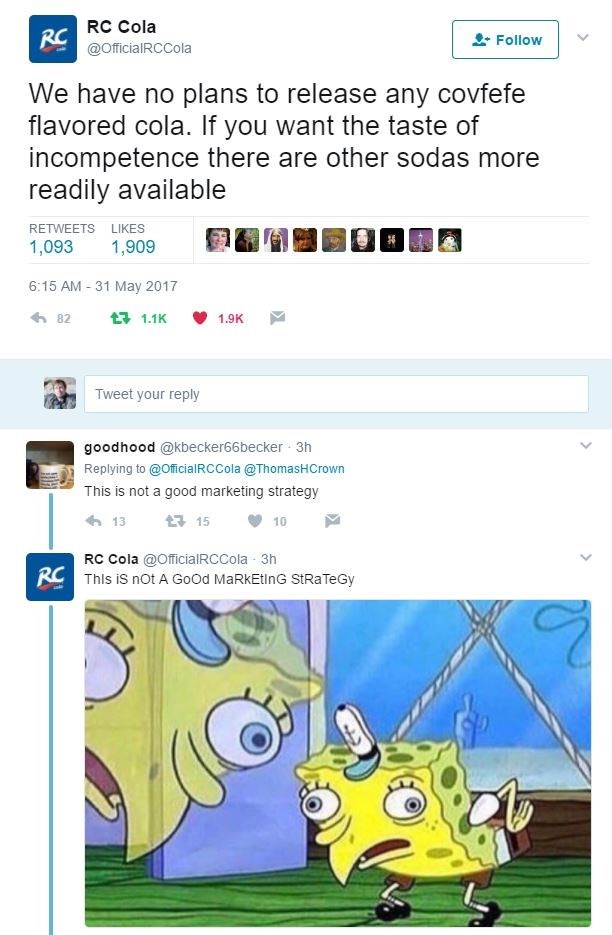 Funny meme about Donald Trump's covfefe blunder, involving RC cola Twitter account - they call him incompetent and mock someone who criticizes their marketing strategy.