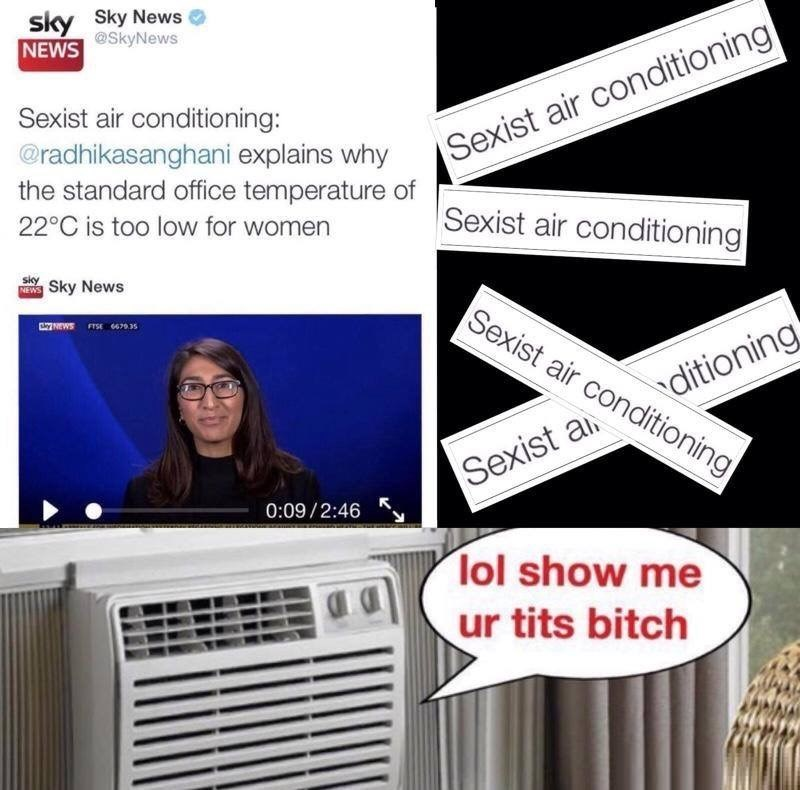 random thursday meme about air conditioning system discriminating against women