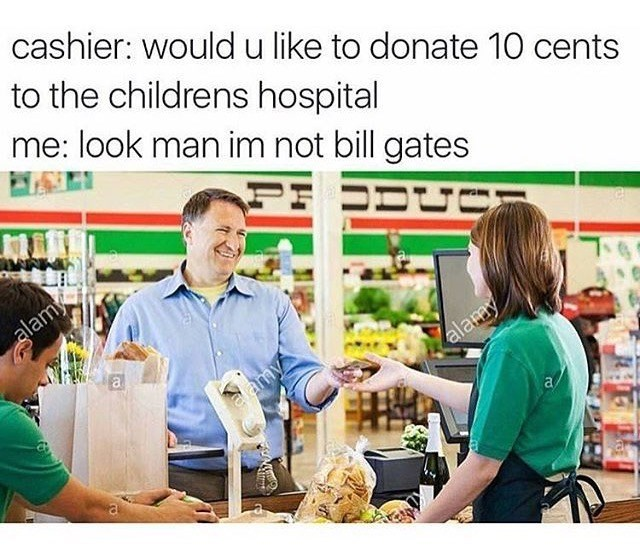 thursday random meme about not wanting to donate money with pic of man laughing in grocery store