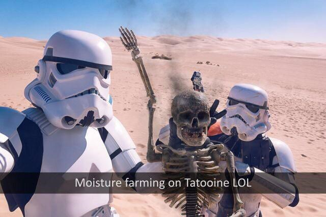 thursday random meme with snapchat of stormtroopers posing with burned skeleton after destroying Tatooine