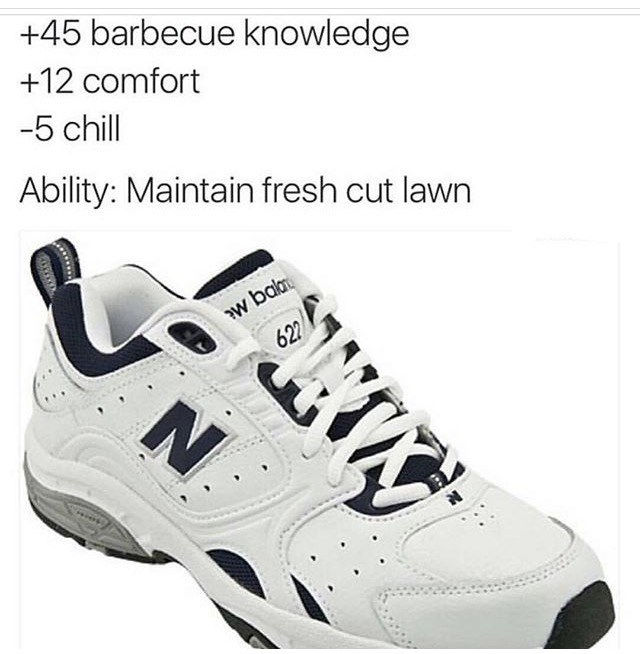 thursday random meme of new balance shoes having stats like equipment in video games