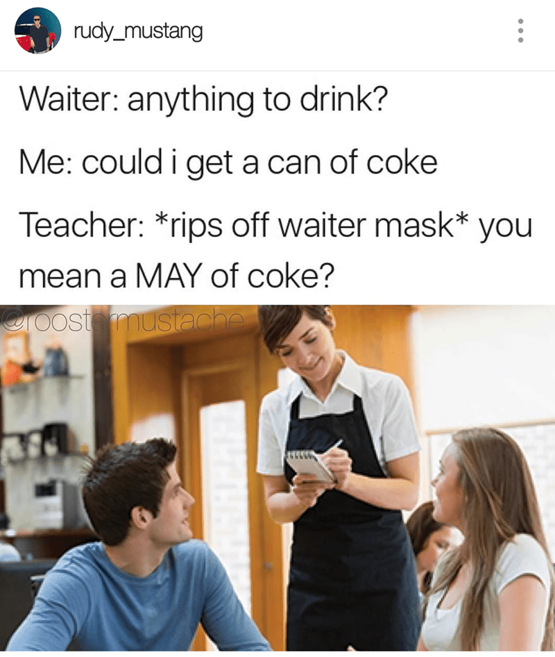 thursday meme about a teacher masquerading as a waiter to oversee students