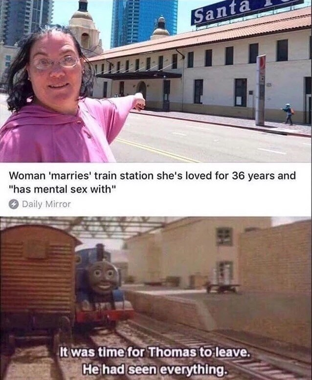 """Transport - Santa Woman 'marries' train station she's loved for 36 years and """"has mental sex with"""" Daily Mirror It was time for Thomas to leave. He had seen everything."""