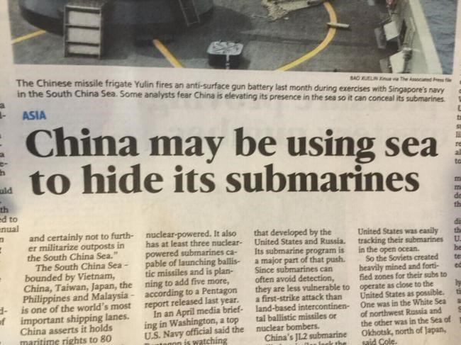 Text - SAO UELIN e The Asod r The Chinese missile frigate Yulin fires an anti-surface gun battery last month during exercises with Singapore's navy in the South China Sea. Some analysts fear China is elevating its presence in the sea so it can conceal its submarines ASIA China may be using sea to hide its submarines uld th ed to nual United States was easily and certainly not to furth- nuclear-powereuclear United States and Russia. tracking their submarines It also that developed by the er milit