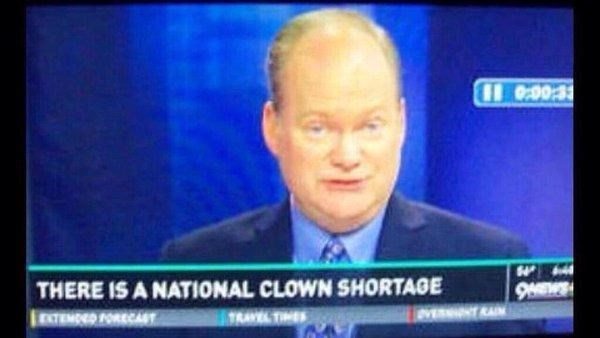 News - I10:00:33 4 THERE IS A NATIONAL CLOWN SHORTAGE EXTEMDED FORKCAT 9E VE AI TRAVELTIMES