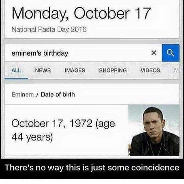 Meme about how National Pasta day and Eminem's birthday are on the same day