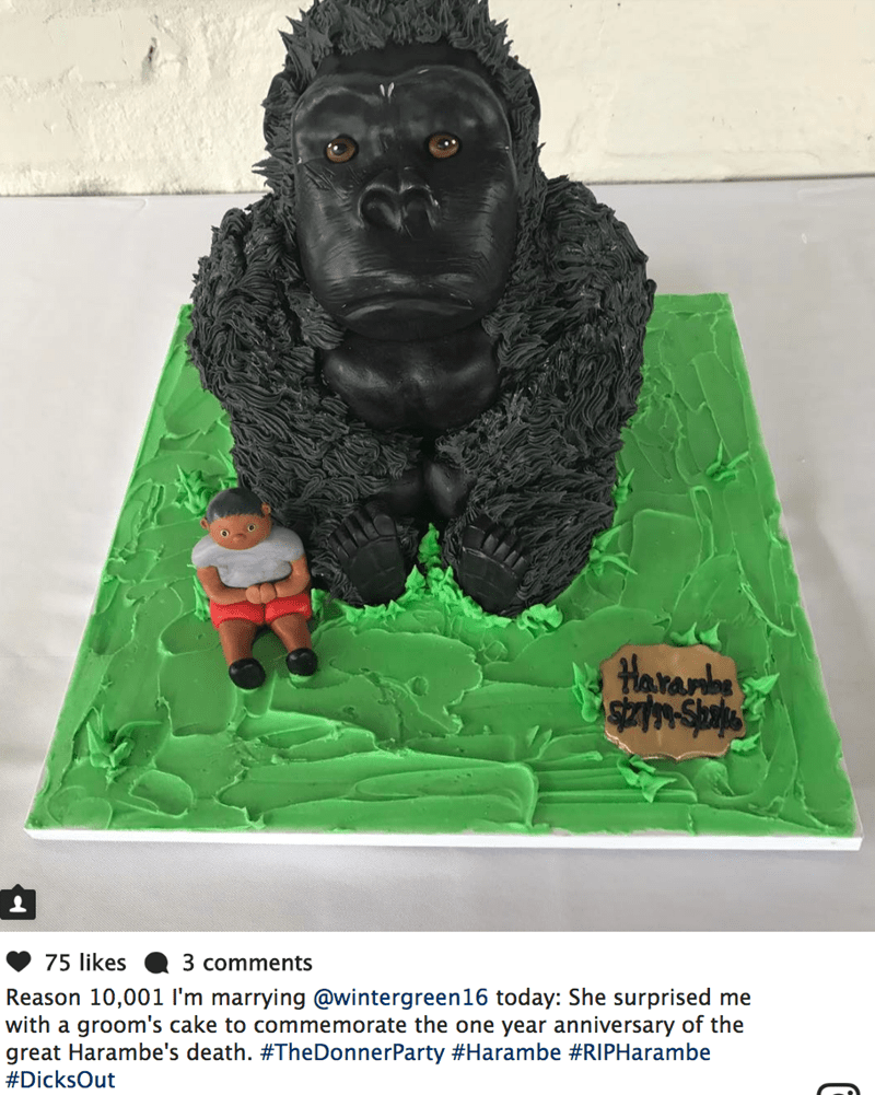 Picture of epic Harambe wedding cake that bride gave her husband on day of their wedding.