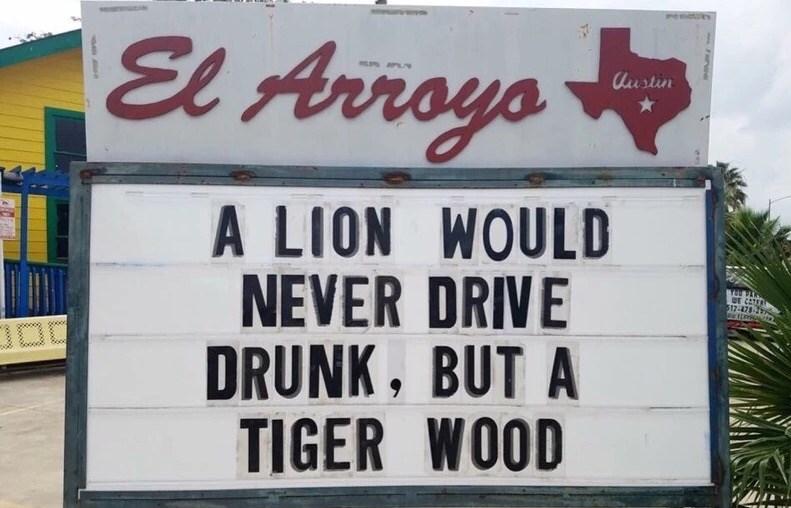 Font - El Avroys austin A LION WOULD NEVER DRIVE DRUNK, BUT A TIGER WOOD E CETER 12-478-2
