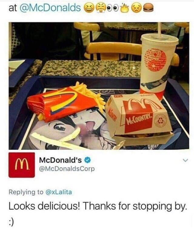 Advertising - at @McDonalds nioone iovin ove ko M.COUNTRY. MMcDonald's @McDonaldsCorp Replying to @xLalita Looks delicious! Thanks for stopping by. :)