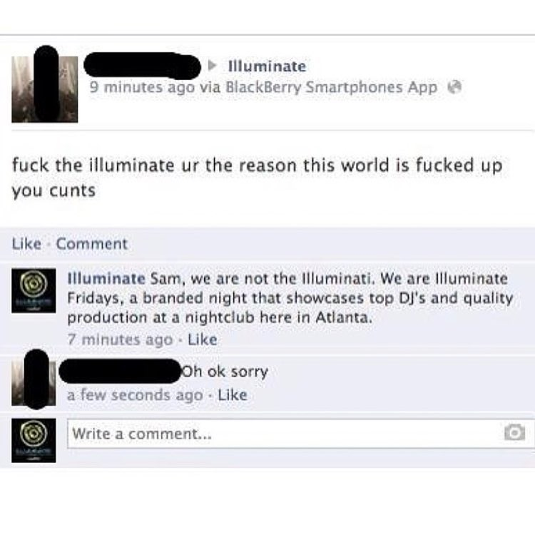 "Funny meme that is a facebook exchange between a person who is insulting the Illuminati- but wrongly posts to ""illuminate"" an australian party page."