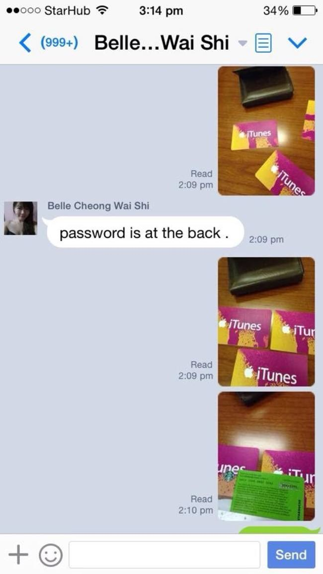 Text - 34% 3:14 pm ooo StarHub Belle...Wai Shi K(999+) ITunes iTunes Read 2:09 pm Belle Cheong Wai Shi 2:09 pm password is at the back Tur jTunes Read Tunes 2:09 pm Tur unes Read 2:10 pm Send +