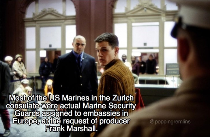 Photograph - Most of the US Marines in the Zurich consulate were actual Marine Security Guards assigned to embassies in Europe, at the request of producer Frank Marshall. @poppingremlins