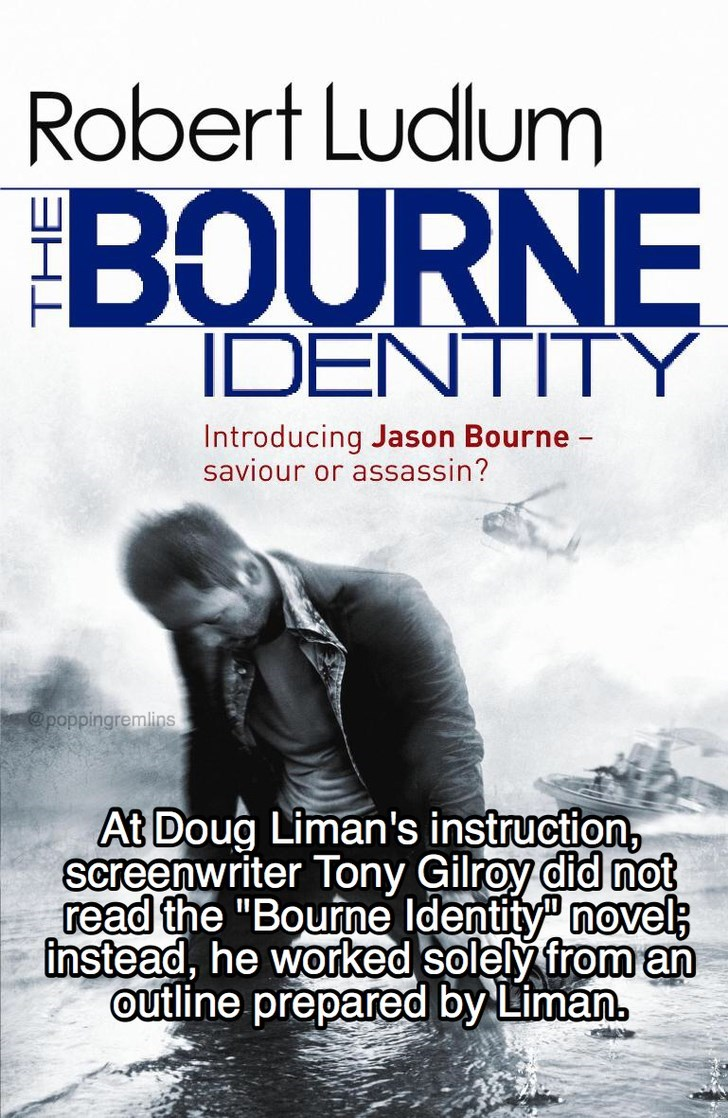 """Poster - Robert Ludlum BOURNE IDENTITY Introducing Jason Bourne saviour or assassin? @poppingremlins At Doug Liman's instruction, screenwriter Tony Gilroy did not read the """"Bourne Identity"""" novel; instead, he worked solely from an outline prepared by Liman"""