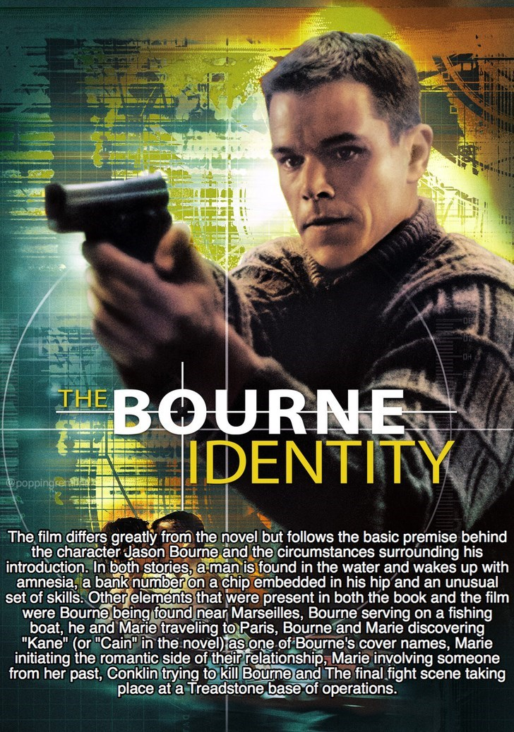 Movie - া HBOURNE IDENTITY The film differs greatly from the novel but follows the basic premise behind the character Jason Bourne and the circumstances surrounding his introduction. In both stories, a man is found in the water and wakes up with amnesia, a bank number on a chip embedded in his hip and an unusual set of skills. Other elements that were present in both the book and the film were Bourne being found near Marseilles, Bourne serving on a fishing boat, he and Marie traveling to Paris,