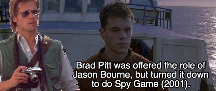 Photo caption - Brad Pitt was offered the role of Jason Bourne, but turned it down to do Spy Game (2001).