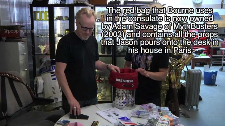 Arm - The red bag that Bourne uses in the consulate is now owned by Adam Savage of MythBusters (2003) and contains all the props that Jason pours onto the desk in his house in Paris @poppingremins BRENNEN ETY
