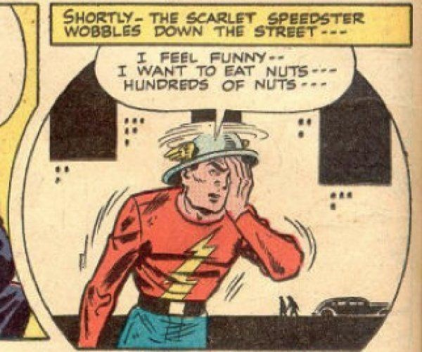 Cartoon - SHORTLY- THE SCARLETSPEEDSTER WOBBLES DOWN THE STREET--- I FEEL FUNNY- I WANT TO EAT NUTS HUNDREDS OF NUTS-