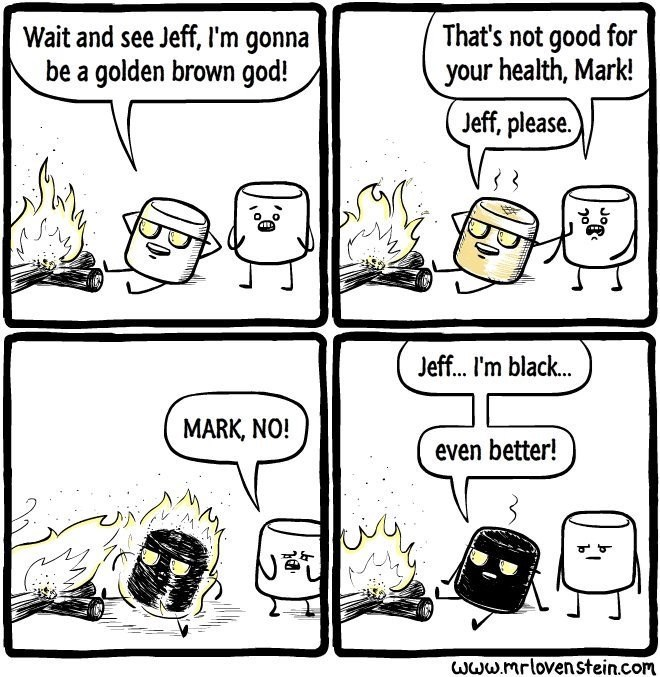 Lovenstein comic - Cartoon - Wait and see Jeff, l'm gonna be a golden brown god! That's not good for your health, Mark! Jeff, please. Jeff... I'm black... MARK, NO! even better! www.mrlovenstein.com Jo