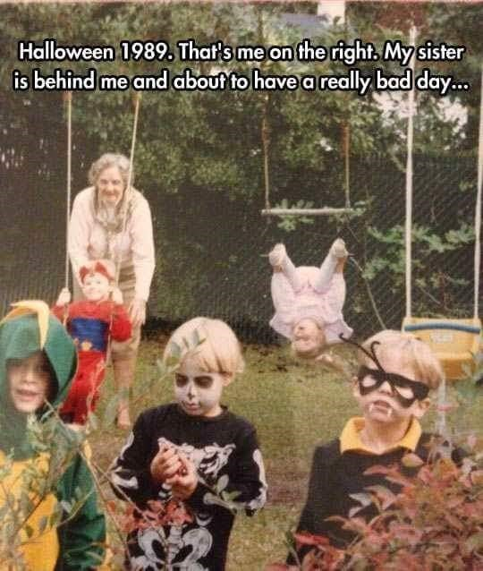 People - Halloween 1989, That's me on the right, My sister is behind me and about to have a really bad day...