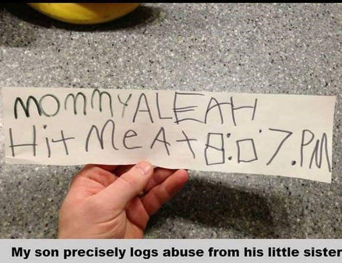Text - MOMALEATH Hit Me AtDZ.P My son precisely logs abuse from his little sister