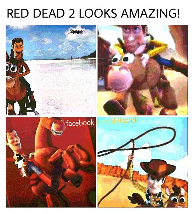 Funny meme saying they can't wait to play the next red dead redemption but it's all photos of toy story.